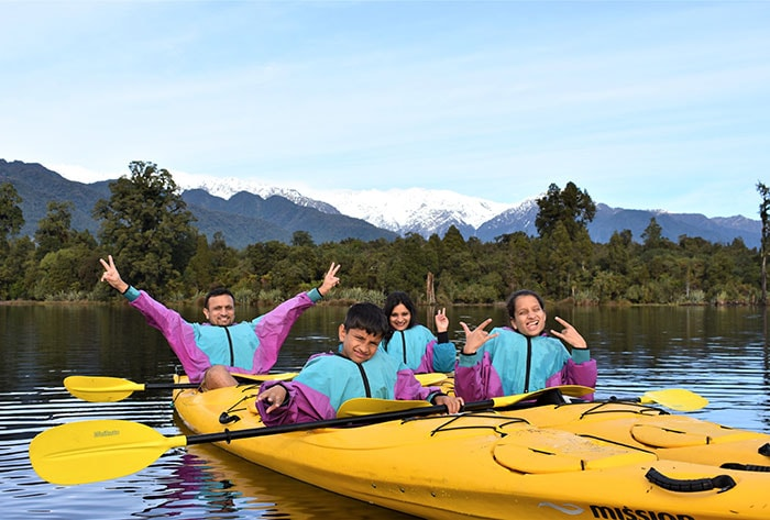Kayak Discovery Tour Family adventures franz josef Glacier Country Kayaks