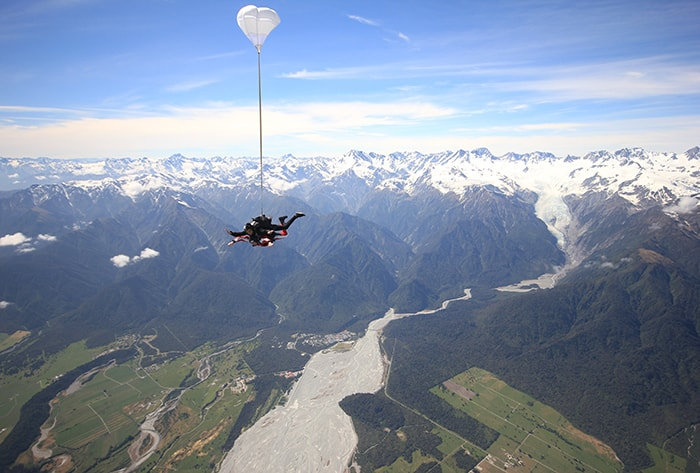 SKYDIVE AND PADDLE COMBO tour nz Glacier Country Kayaks